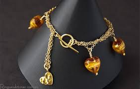 fashion jewelry gold necklace images Murano glass hearts gold chain bracelet ringsandstones jpg
