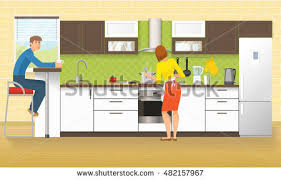 Kitchen Design Cupboards People Kitchen Design Cupboards Cabinets Domestic Stock Vector