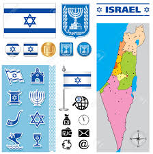 Map Of Isreal Vector Map Of Israel With A Set Of Signs And Symbols Royalty Free