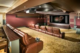 interior good looking modern pink home theater room featuring