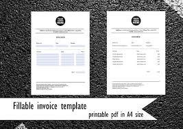 fillable invoice template pdf invoice in a4 size company