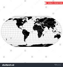 Black And White World Map Robinson Map Projection World Map Which Stock Vector 406552030
