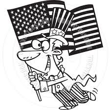 Black And White American Flag Cartoon Uncle Sam With American Flag Black And White Line Art By