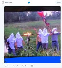 Burning Red Flag Photo Of Students In Hoods Burning Cross Prompts Discipline Time