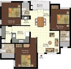 Belvedere Floor Plan 2416 Sq Ft 3 Bhk 3t Apartment For Sale In Sreerosh Belvedere