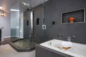 contemporary master bathroom with rain shower head u0026 flush light