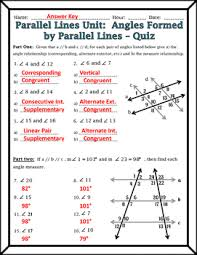 lines angles formed by parallel lines and transversals quiz