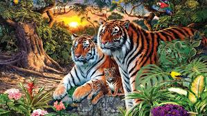 animals of the jungle tiger and tigress with two cubs small hd