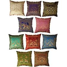 silk home 10 pc lot square silk home decor cushion cover indian