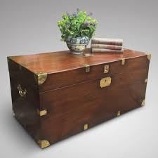 19th century mahogany campaign trunk antique coffee table