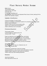 Construction Worker Sample Resume by Nursery Worker Cover Letter