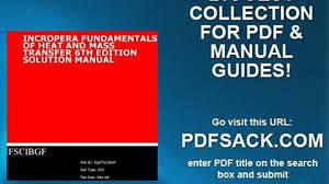 incropera fundamentals of heat and mass transfer 6th edition