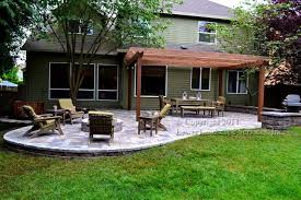 Patio And Firepit Paver Patio Pergola Pit Seat Wall Lighting Contemporary
