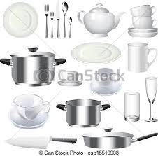 vaisselle de cuisine vecteur articles ensemble vaisselle cuisine ensemble