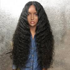 long black hair with part in the middle wholesale long middle part shaggy deep wave synthetic wig black