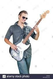 Cool Stock by Cool European Bass Guitar Player Wearing Sun Glasses Stock Photo