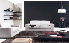 interior super white wall and furniture with tufted bed and