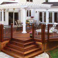 elegant wood deck with free standing pergola archadeck outdoor