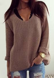 v neck sweater s coffee plain hollow out v neck sleeve vintage casual