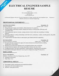 best ideas of sample resume electrical engineer about example