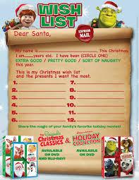 Printable Santa List Templates Dreamworks Holiday Collection The Original Christmas Classics