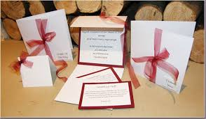 Wedding Invitations With Ribbon Envelope Style Handmade Wedding Invitations With Burgundy Chiffon