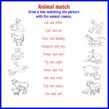 animal names free printable kids activities