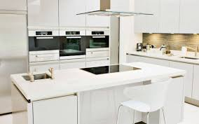 decorations striking modern white kitchen with large island and