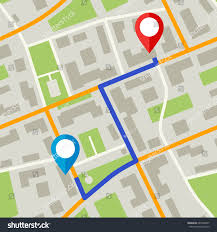 Map With Pins Map Pins Blue Way Simple Flat Stock Vector 685250467 Shutterstock