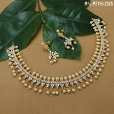 pearls gold necklace sets images Cz stones designer with pearls gold plated finish necklace set buy jpg