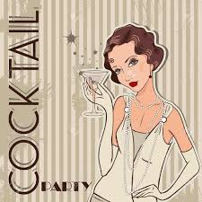flapper retro party invitation design cocktail party royalty
