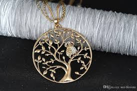 long owl pendant necklace images Wholesale small owl pendant necklace tree of life women rose gold jpg