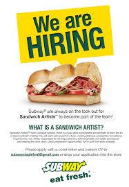 Subway Sandwich Artist Job Description Resume by Subway Stapleford Stapleford Community Group