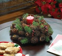 christmas table centerpiece everlasting pine cone wreath candle