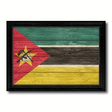 mozambique country flag texture canvas print with black picture