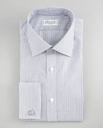 charvet striped french cuff dress shirt in gray for men lyst