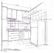 drawing of kitchen