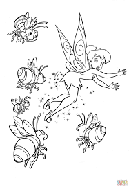bees and fairy iridessa coloring page free printable coloring pages