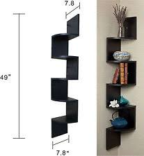 Modern Wall Mounted Shelves Wall Mount Shelf Storage Corner Zig Zag Shelves Display Decorative