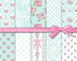 shabby chic wrapping paper digital paper floral digital paper roses digital paper