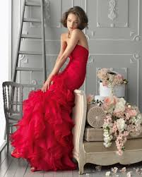 red ruffle mermaid bridesmaid dress