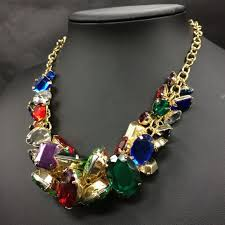 stone colored necklace images Fashion jewelry jewelry new gild multi colored stone statement jpg
