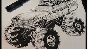 monster trucks drawings how to draw ghost busters monster truck youtube