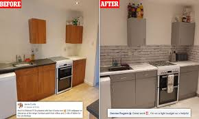 best kitchen cupboard paint uk thrifty homeowner gives outdated kitchen an amazing