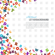 abstract colorful alphabet ornament border on white background