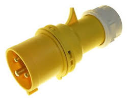 32 amp 3 pin 110 volt ip44 plug industrial fast fit yellow site