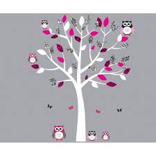 Nursery Owl Wall Decals Pink And Black Owl Wall Decal With Wall Decal Tree For Nursery Or