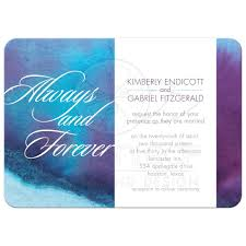 Purple Wedding Invitations Invitation Always And Forever Blue Purple Watercolor Wash
