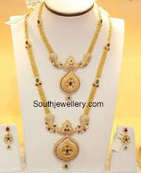 gold haram sets cz necklace and chain jewellery designs