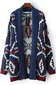 tribal sweater blue tribal pattern open front cardigan cardigans for